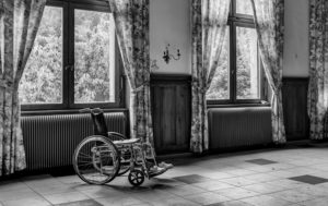 wózek inwalidzki wheelchair, black&white